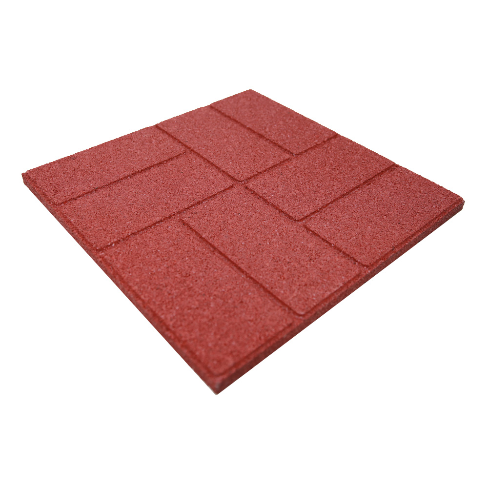 6 pack dualside garden rubber paver red